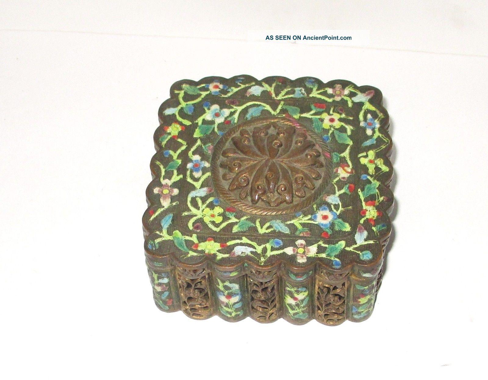 Rare 19th Century Chinese Bronze Cloisonne Repousse Open Enamel Mirror Box Boxes photo