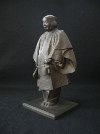 Antique Bronze Sculpture - Noh Mask In Matsukaze - Made By Sho - Ko Product photo