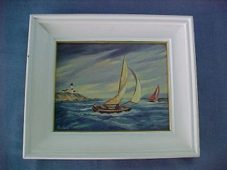 Maccourt Montauk? Nantucket? Red Stripe Lighthouse Ocean Sailboats Oil Painting photo