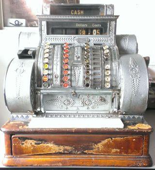 Antique 1914 National 442el Nickle Plated Brass Cash Register Tiffany ' S Design photo