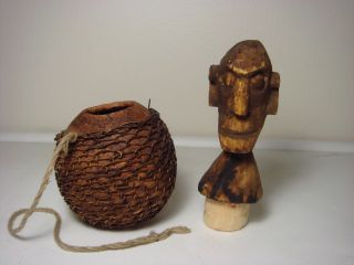 African Tribal Gourd Hand Carved Early Luba Tribe Wood Medicine Man Congo Rare photo