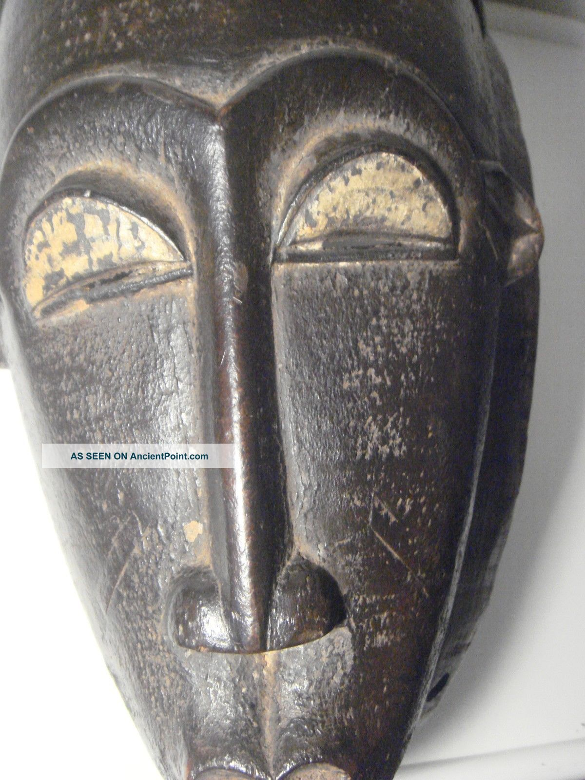African Wood Mask Tribal Art Baule Ivory Coast Vintage Wall Art Decor