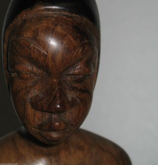Hand Carved Wood African Man Playing Drum Figure Figurine Art Statue Two Tone photo