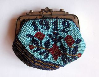 Antique 1912 Native Bulgarian Folk Art Beaded Beadwork Engagement Pouch Purse photo