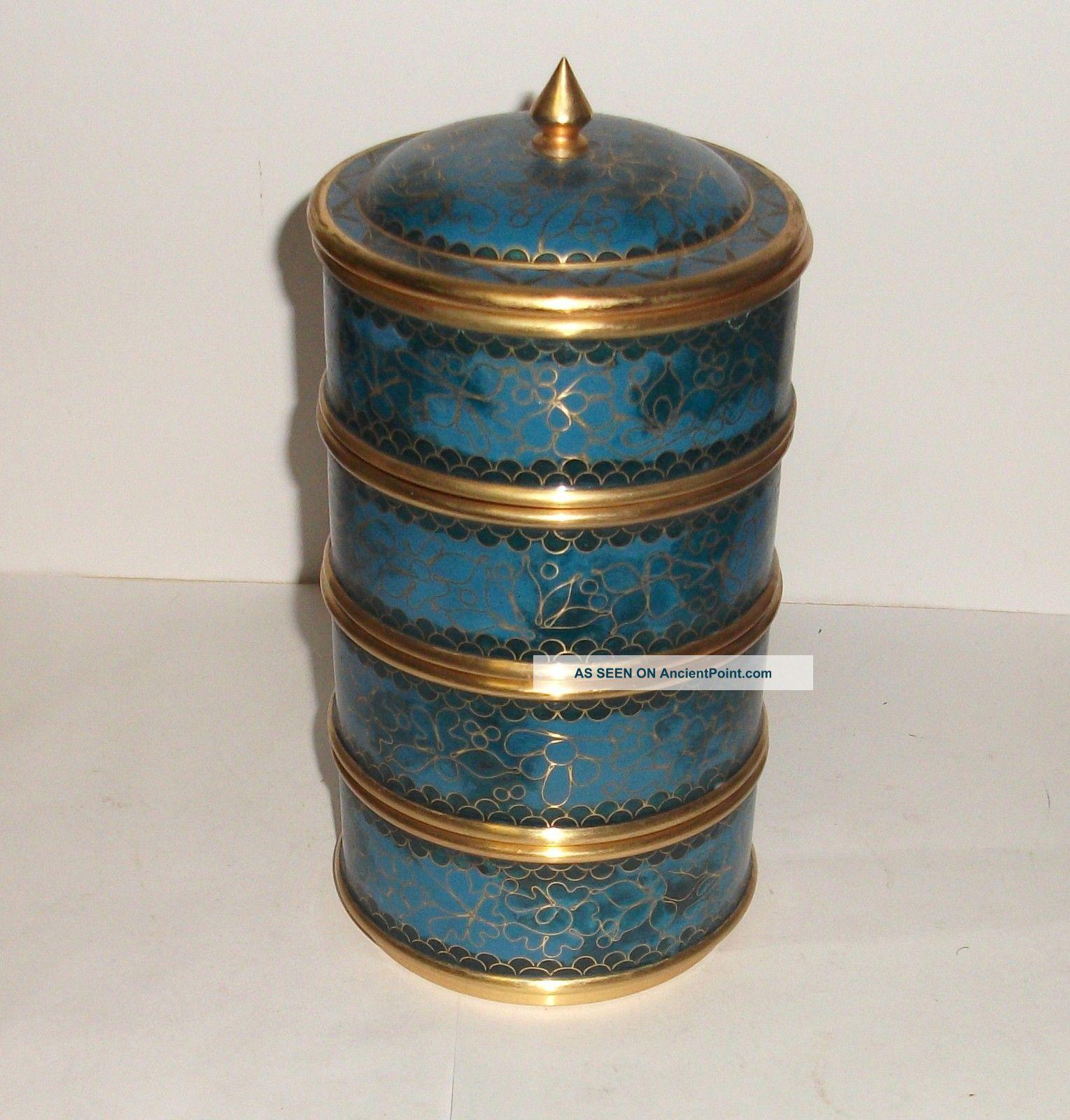 Rare Blue Cloisonne Enamel Stackable Canister Jar Box Boxes photo