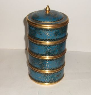 Rare Blue Cloisonne Enamel Stackable Canister Jar Box photo