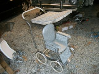 Antique Stroll O Chair Baby Carriage Stroller High Chair Rocker Desk Baby Seat photo