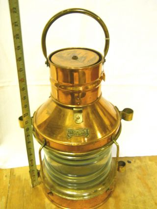 Vintage Decor.  Maritime Nautical Copper & Brass Ship ' S Anchor Oil Lamp Lantern photo