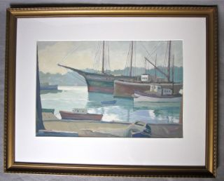 Vintage Ross Gill (1887 - 1969) Harbor Gouache Painting - Pacific Coast Artist photo