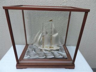 Very Large Vintage Signed 2 Masted Japanese Takehiko Sterling Silver Yacht Ship photo