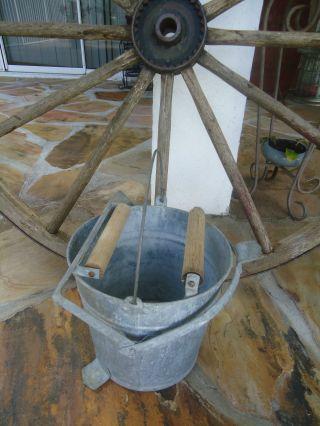 Vintage 1950 ' S Galvanized Metal Mop Bucket Dual Wood Rollers Primitive Decor photo
