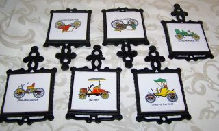Classic Antique Cars Collectible Tiles Trivets Cast Iron Steel Hand Painted 60s photo