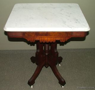 C1024: Antique Rare Mfg Name Eastlake Parlor Table W Marble Top Cond. photo