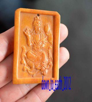 Old Tibetan Yak Bone Carved Necklace Pendant Amulet Statue Kwan Yin Guanyin 008 photo