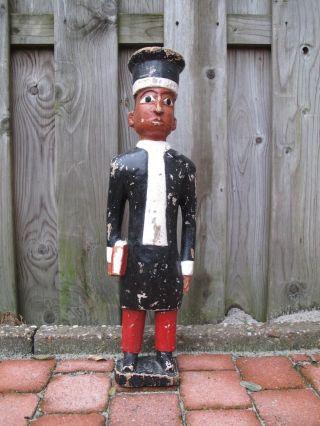 Primitive Wooden Judge Figure 19 Th Century Antique Doll 20 Inch,  50 Cm Tall photo