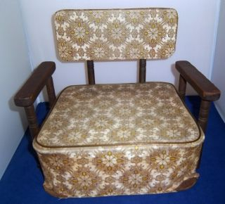 Child ' S Baby 1/2 Chair 1940 ' S Brown Wood W Brown Vinyl Cover Family Owned photo