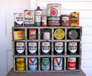 Vintage Gas Station Oil Can Shelf Wood Industrial Salvage Primitive Rack Sign photo