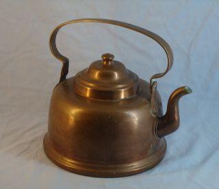 Antique Karl Olsen Stavanger Norway Large Dovetailed Copper Tea Pot Kettle 5 photo