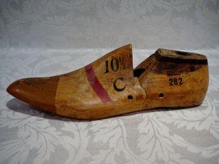 Vintage Men ' S Single Left Foot Wood Shoe Last Form Mold Size 10½ C photo