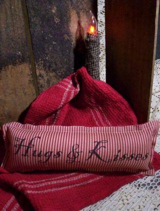 Valentine Hugs & Kiss Tuck Pillow Ticking Vintage Primitive Victorian Steampunk photo