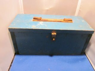 Wood Tool Box Chest Blue Chipped Paint Vintage Wooden Handle Missing photo