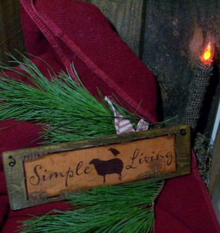 Simple Living Sheep And Crow Wood Sign - Primitive Vintage Victorian Shabby Old photo
