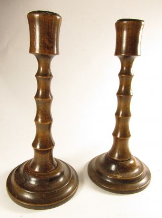 Antique 1800s Hand Turned Wooden Candlesticks photo