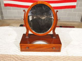 Vintage Banded Mohogany One Drawer Shaving Mirror Heritage Henredon photo
