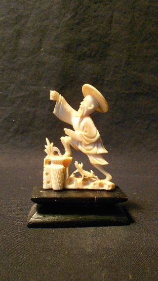 Antique Very,  Chinese Carving Statue Of Fisherman Figure photo