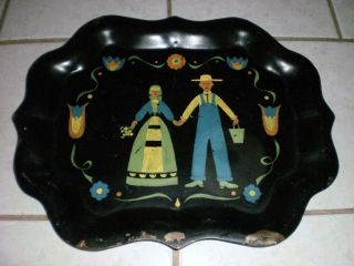 Vintage Old Folk Art Tole Painted Tray Unique & Playful Great Gift Idea photo