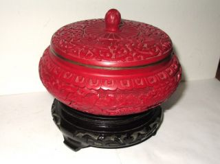Carved Chinese Cinnabar Enamel Bowl Jar Box With Wooden Stand photo