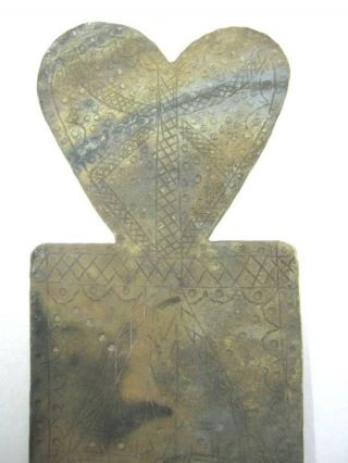 Antique Heart Candle Holder,  Bronze / Brass Engraving photo