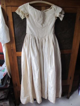 Antique Cream Colored Silk 1840 ' S Gown Possibly Wedding Gown New England Aafa photo