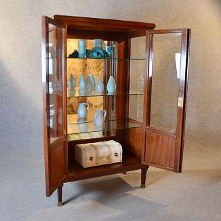 Antique Display Case China Cabinet Glazed Bookcase Fine Quality Edwardian C1910 photo