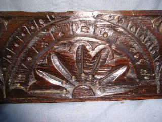 17th Century Oak Carved Lunette Rail photo