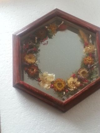 Vintage Hexagonal Mirror ' Natural History ' Victorian Style Pressed Dried Flowers photo