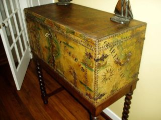 1 Of A Kind Antique Leather Chest W/barley Twist Stand photo