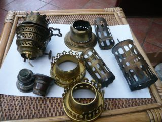 Job Vintage Old Brass Oil Lamp Parts Gallery Burner Spares Etc photo