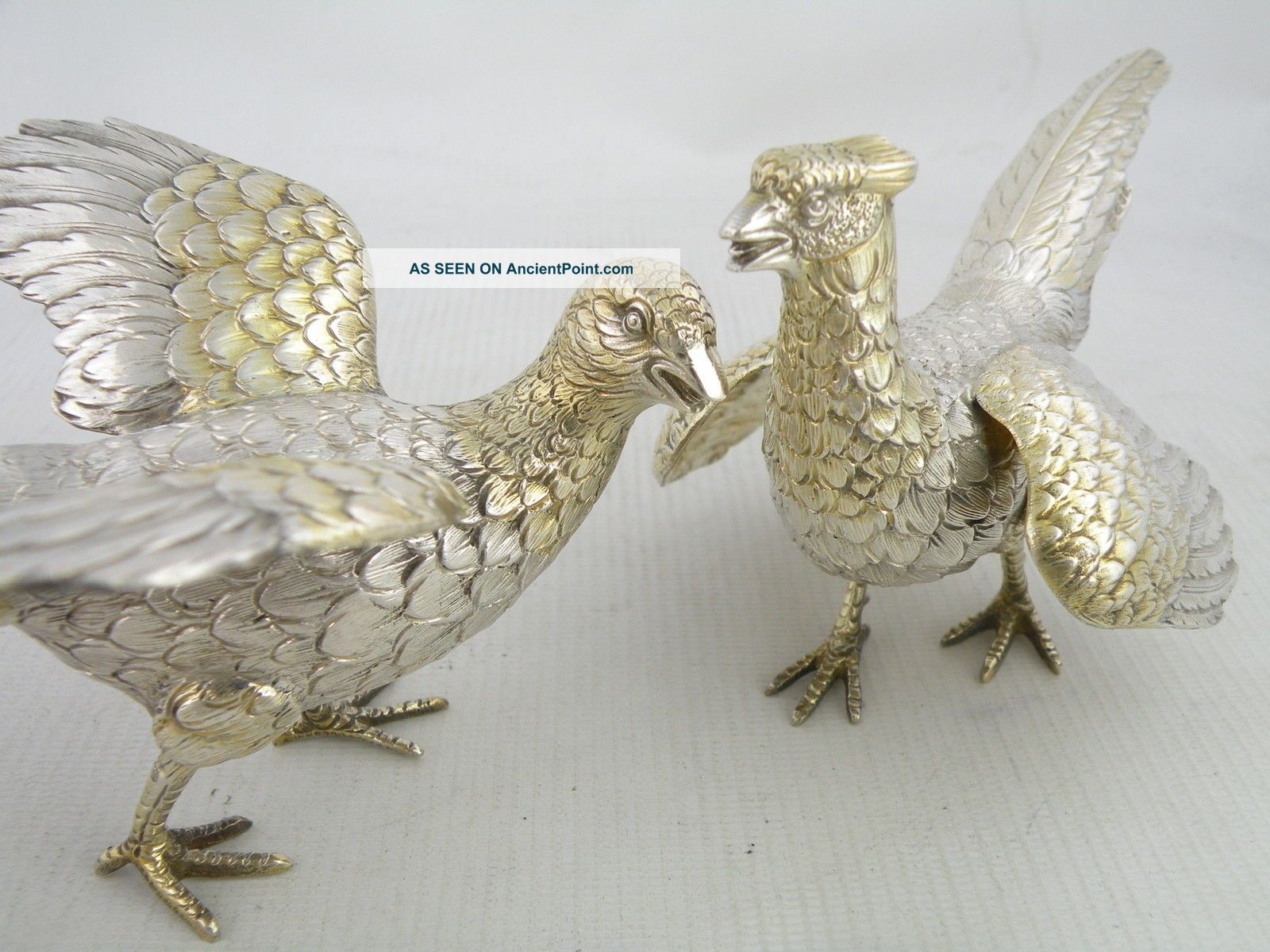 Great Quality Silver Golden Pheasant Bird Models,  London 1975 Statues photo