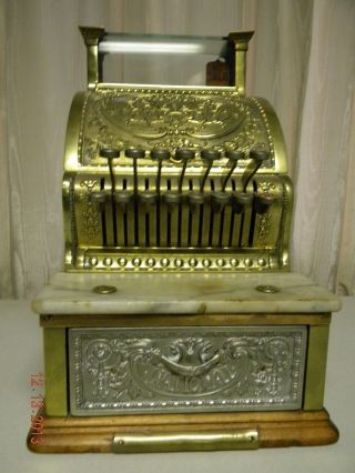 Antique Brass National Cash Register,  1913,  Model 313,  All,  Exc.  Cond. photo