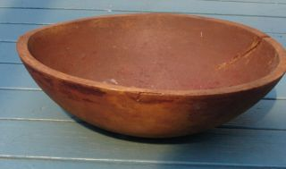 Antique Wood Bowl Carved One Piece.  4x12