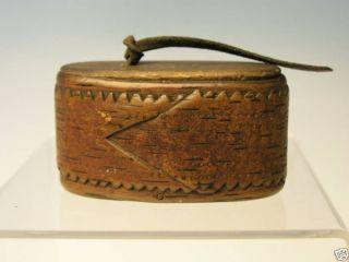 Antique Carved Wooden Snuff Box American Folk Art Pre - 1800 ' S Aafa photo
