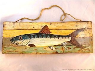 Handpainted Fish On Driftwood Wall Plaque Sign Weathered Beach Art photo