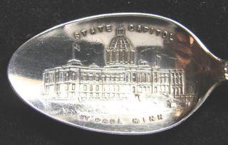 Sterling Silver Souvenir Spoon St.  Paul Mn Capitol Building,  1900 photo
