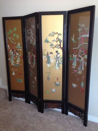 Old Chinese Screen Divider Gold Color Glass Hand Carved 4 Pannel Stones Jade photo