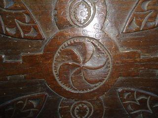 Rare 17th Century Oak,  Large Carved Whorl Panel photo