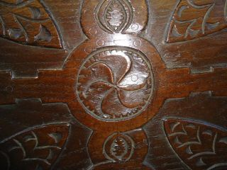 Rare 17th Century Oak,  Large Carved Whorl Panel photo