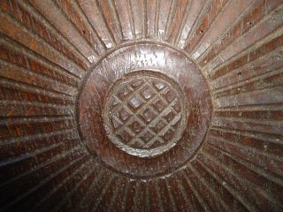 16th/ 17th Century Oak,  Large Carved Wrythern Rosette Panel photo