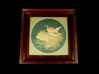 Rare 19th Century Mahogany Framed ' The Kiss ' Cherub Sculpture photo