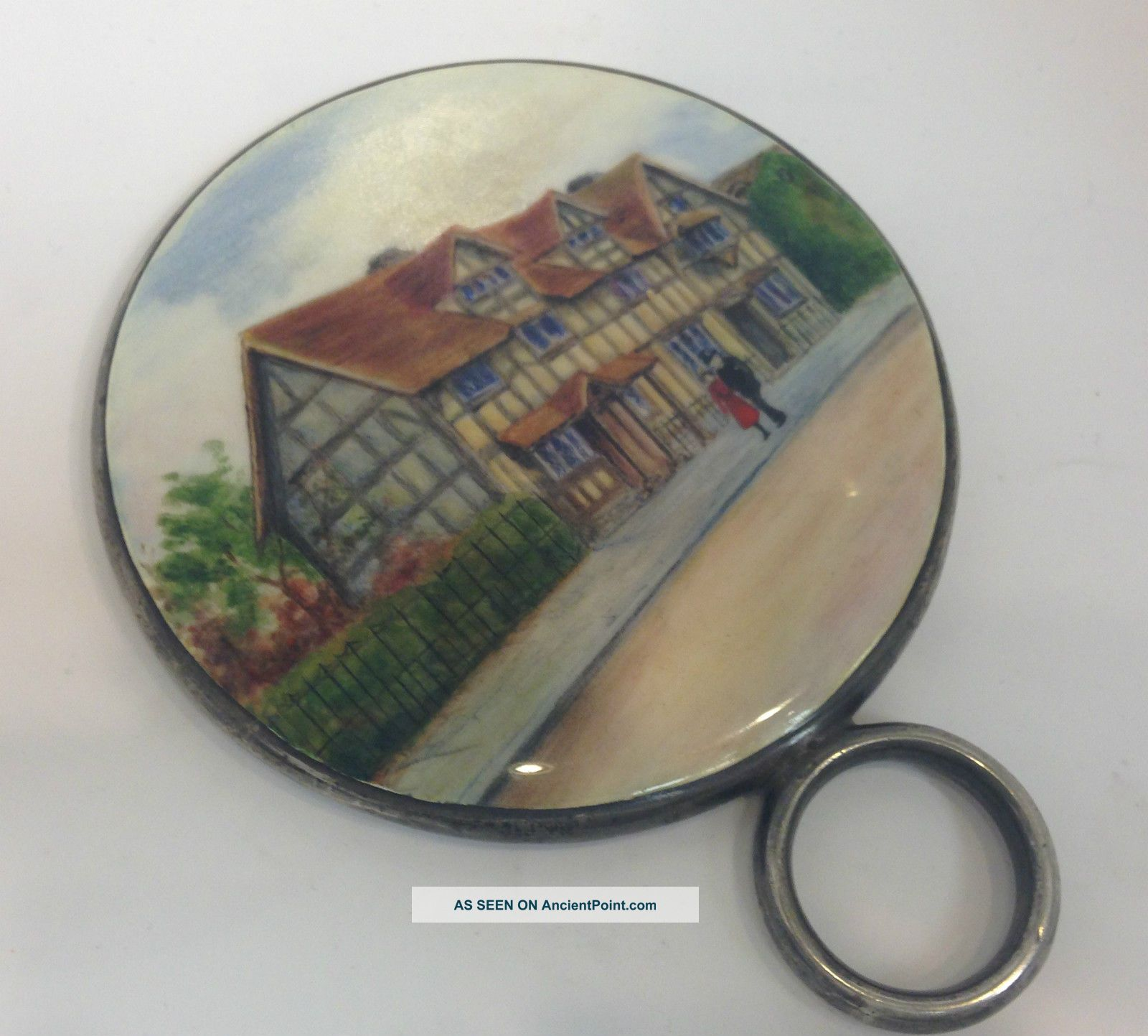 Silver And Enamel Hand Mirror. . . . .  London 1927 Mirrors photo